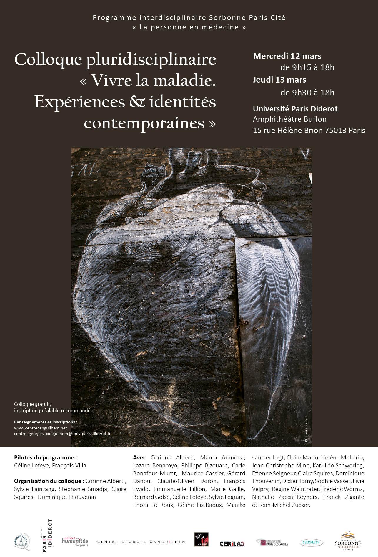 """Colloque pluridisciplinaire """"Vivre la maladie – Expériences et identités contemporaines"""" (mars 2014)"""