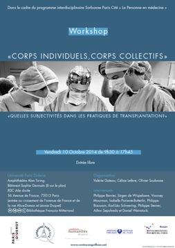 """Workshop """"Corps individuels, corps collectifs : quelles subjectivités dans les pratiques de transplantation ? (octobre 2014)"""