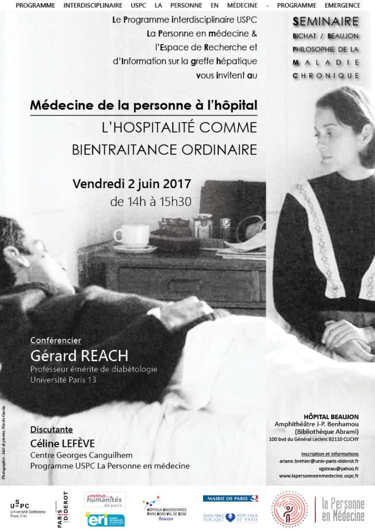 Maladie chronique : Médecine de la personne à l'hôpital : l'hospitalité comme bientraitance ordinaire