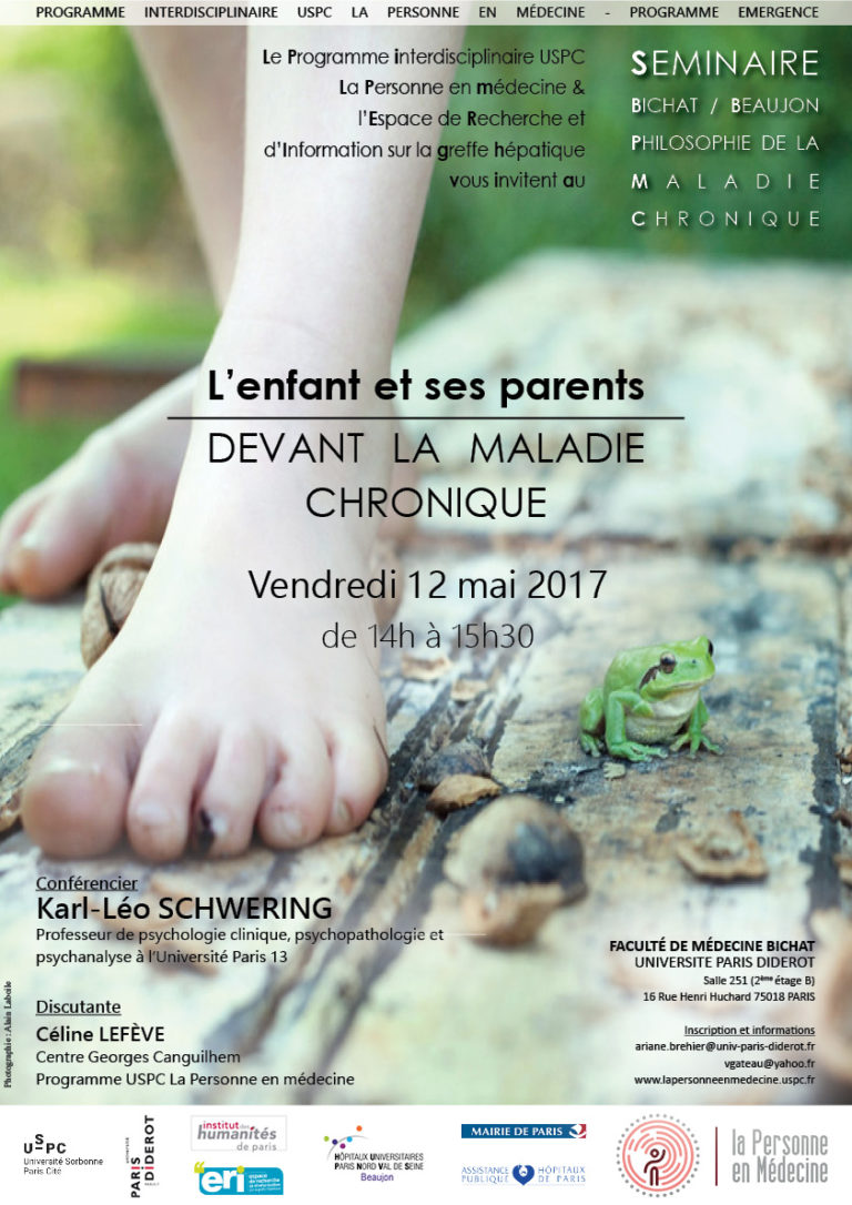 Philosophie de la maladie chronique : « L'enfant et ses parents devant la maladie chronique».